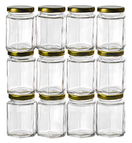 GoJars 4oz Premium Food-Grade Hexagon Glass Jars for Gifts, Wedding Favors, Honey, Jams and More (12, -