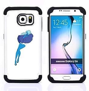 BullDog Case - FOR/Samsung Galaxy S6 G9200 / - / BLUE ART PILLOW CLOUD WOMAN SEXY STOCKINGS /- H??brido Heavy Duty caja del tel??fono protector din??mico - silicona suave