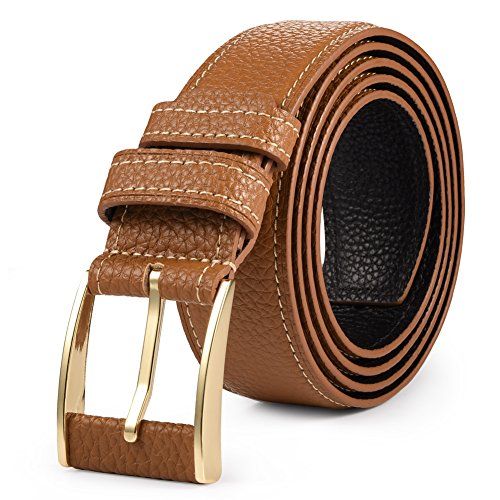 Bridle Jean Belt (Vbiger Genuine Leather Belt Reversible Waist Strap Pin Buckle Jeans Bridle Belt)