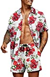 COOFANDY Men's Hawaiian Set Casual Floral Print Shirt Summer Shirt and Shorts