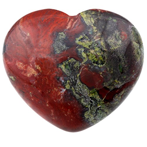 "SUNYIK Natural Dragon Blood Jasper Carved Puff Heart Pocket Stone,Healing Palm Crystal Pack of 1(1.6"")"