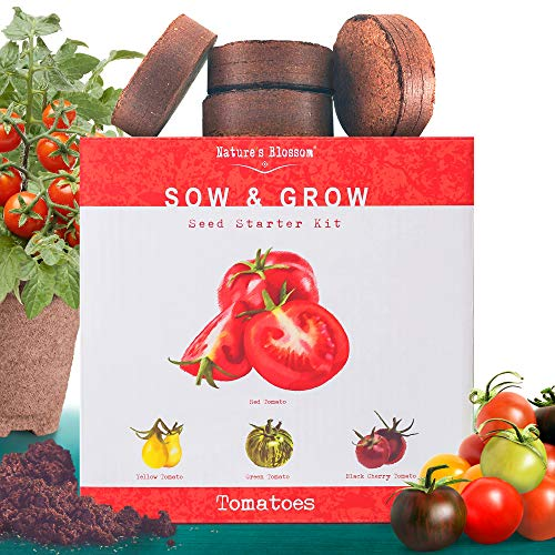 Nature's Blossom Tomato Garden Kit. Grow 4 Types of Tomatoes from Seed. Gardening Starter Set For Growing Unusual Tomatoes; Sweet Red Tomato, Black Cherry, Yellow Pear Tomato and Green Zebra Tomatoes.