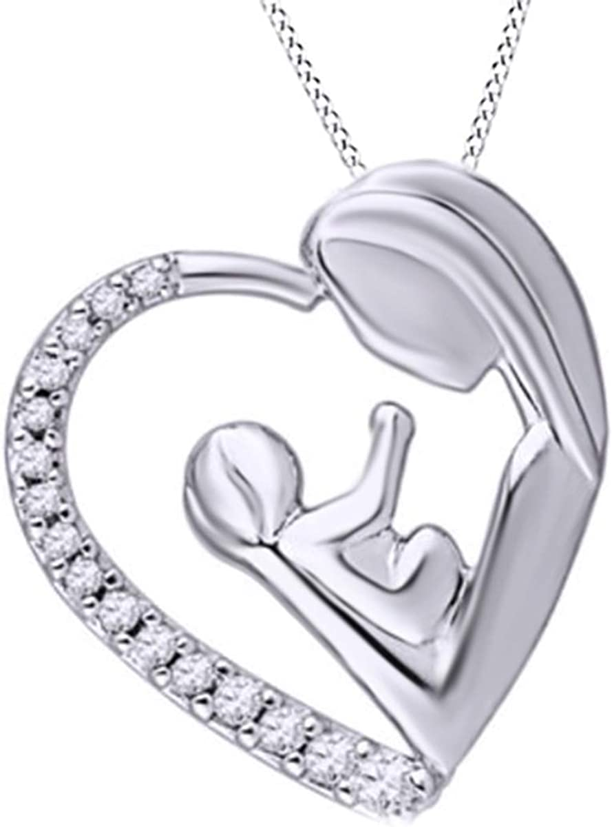0.12 Cttw Round Cut Natural Diamond 925 Sterling Silver Heart Wing Pendant