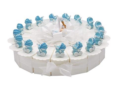 Zauberdeko 17 Gastgeschenke Torte Taufe Baby Blau Junge