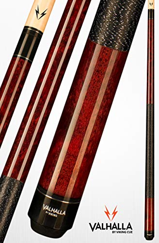 Valhalla VA120 by Viking 2 Piece Pool Cue Stick Mahogany Stain Irish Linen Wrap 16-21 oz. Plus Blue Master Chalk (Mahogany, 19)