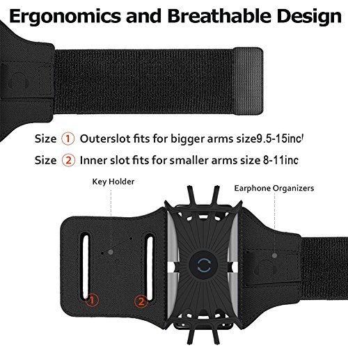 Simptech Running Phone Armband for iPhone X/8/7/6/6S Plus, Galaxy S8/S7/S7 Edge,180°Rotatable Design with Key Holder Ideal for Workout Jogging Hiking Biking by Simptech (Image #5)