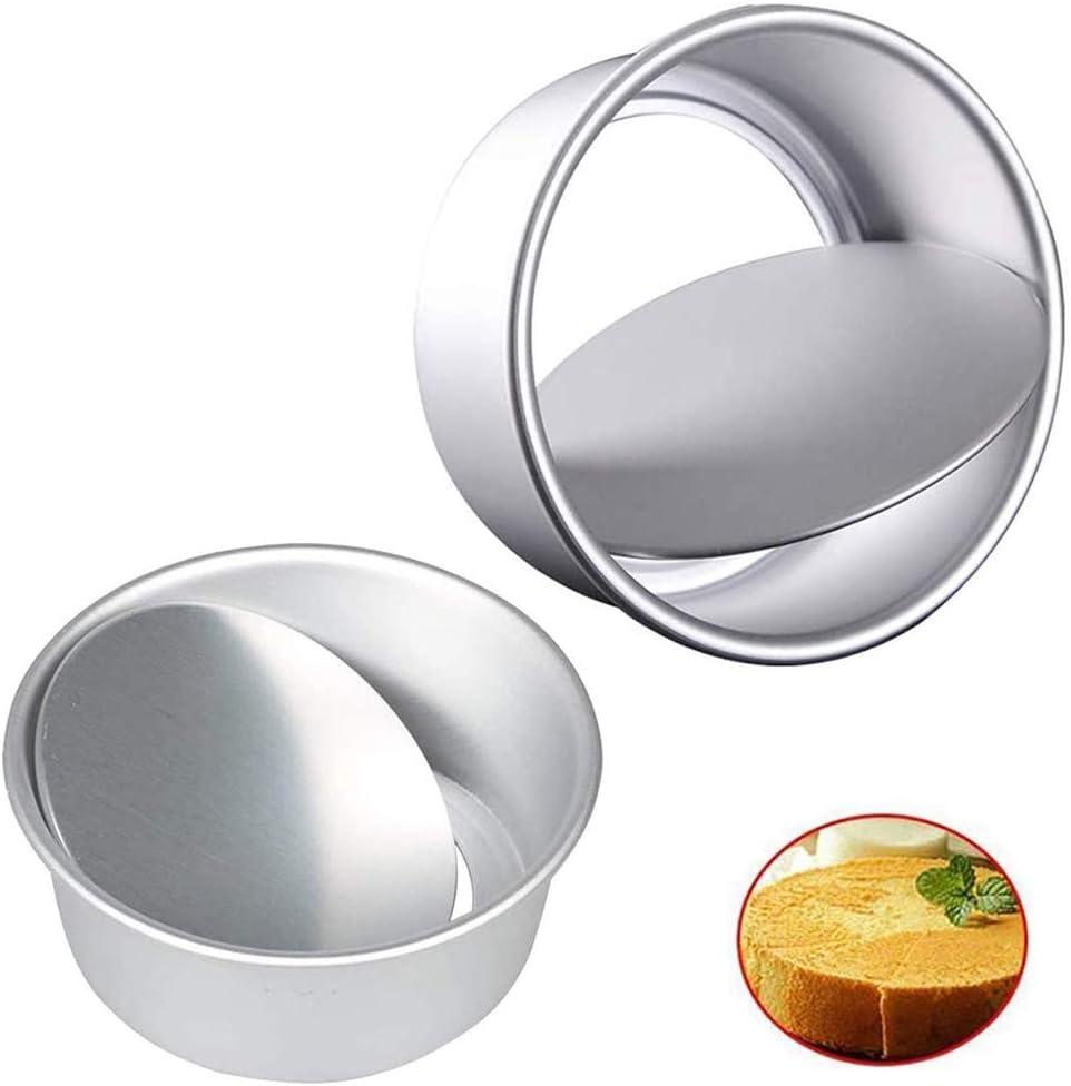 Mirrwin Moldes para Pasteles Redondos de Aluminio Molde Bizcocho Redondo Set de Moldes de Pastel Redondo con Fondo Desmontable para Boda//Cumplea/ños//Pastel de Navidad 6 in y 8 in,2 Piezas,Plata