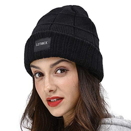 (LETHMIK Unique Striped Beanie Hat,Slouchy Cuff Knit Winter Skull Cap Hat for Men&Women Black)