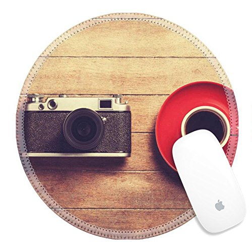 Luxlady Round Gaming Mousepad 26892808 Retro camera and cup of a coffee