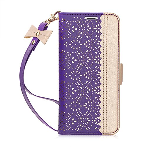 WWW Galaxy Note 9 Case,Note 9 Wallet Case,[Luxurious Romantic Carved Flower] Leather Wallet Case with [Inside Makeup Mirror] and [Kickstand Feature] for Galaxy Note 9 2018 Purple