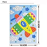 Kids DIY Mosaic Diamond Sticker Jigsaw, Animals Pattern Art Kits Educational Puzzle Funny Creative Toys, Gift for Baby Birthday Age 3-9 Years Old (Aircraft)