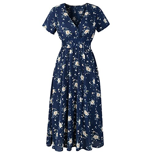 iLUGU Handsome Maxi Dress for Women Short Sleeve Deep V-Neck Pencil Empire Line Holiday Floral Print Summer Beach Party Gown Navy