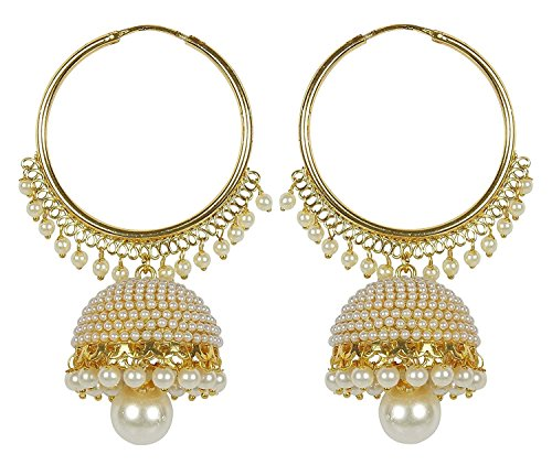I Jewels Indian Bollywood Jewelry Round Ethnic Earrings for women