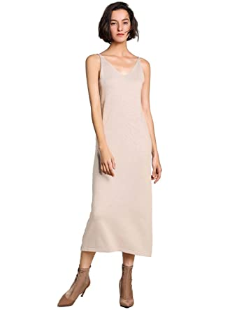 FINCATI Spring Summer Dresses 2019 Women Cashmere Blending Knit V Neck  Spaghetti Strap Soft Stretchable Long 68168448f0f0