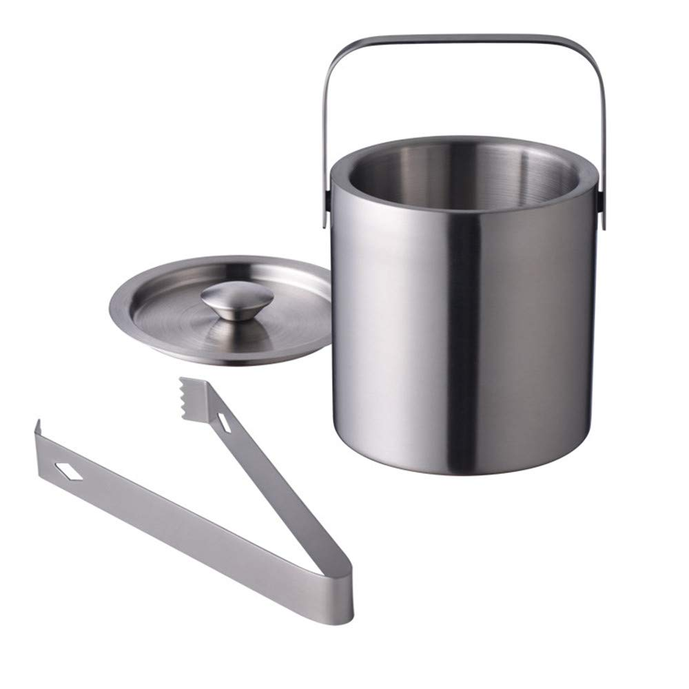 LUCKYGOOBO Stainless Steel Double Wall Ice Bucket with Lid and Tongs,Ice Buckets for Camping,1.3L
