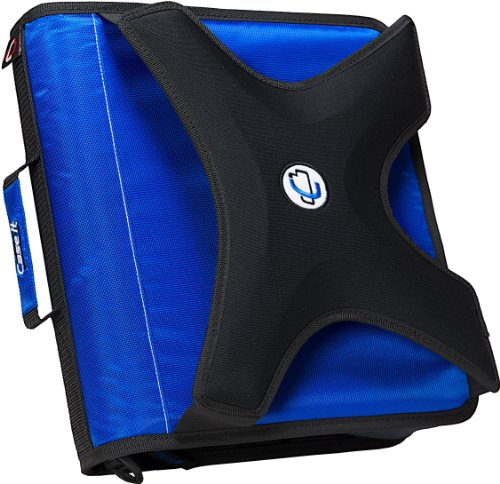 - Case-it X-Hugger 2-Inch Round Ring Zipper Binder with Book Holder on Front, Blue, X-351-BLU
