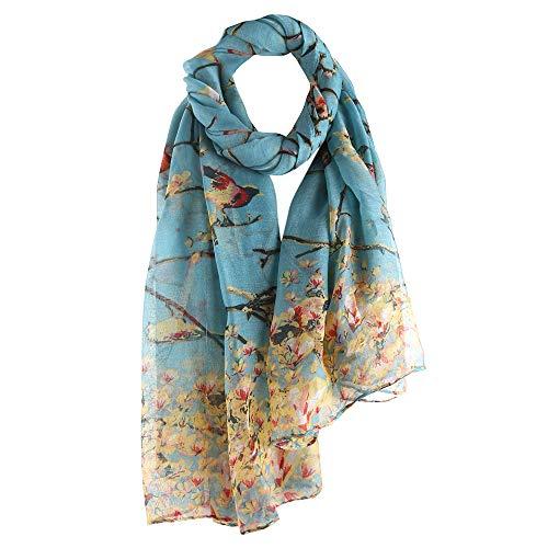 Clearance Silk Scarf for Women,WUAI Christmas Fashion Lotus Printed Long Scarf Warm Wrap Shawl(Sky Blue,Free Size)