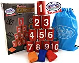 Matty's Toy Stop Deluxe Tin Can Alley Bean Bag Toss Carnival Game with Bonus Storage Bag - Includes 10 Tin Cans, 3 Bean Bags & Storage Bag