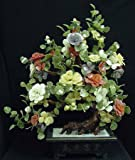 "Unusual Anniversary Gift Idea for Her - 42"" Ming Chinese Jade Flowering Tree w/ Multi Color Blossoms"