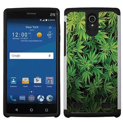 ZTE ZMAX 2 Case, Slim Fit Hybrid 2 Layer Shock Proof Armor Hard Case by URAKKI - ZTE ZMAX 2 (2nd Gen) Z958L / Z955L [Weed Marijuana Camouflage] (Zte Zmax Phone Case Marijuana)