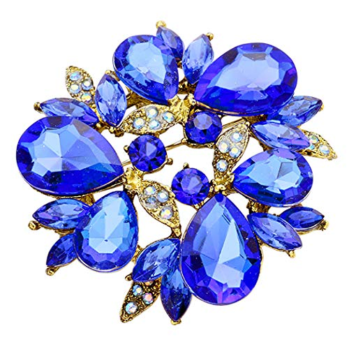 Rosemarie Collections Women's Sparkling Rhinestone Flower Round Wreath Statement Brooch Pin Pendant (Royal Blue)