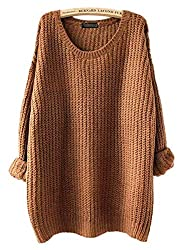 Arjosa Women S Fashion Oversized Knitted Crewneck Casual Pullovers Sweater 4 Brown
