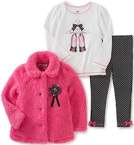 Kids Headquarters Baby Girls 3 Pieces Sherpa Jacket Pants Set