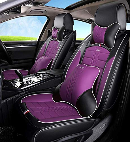 Tcbz Easy To Clean PU Leather Car Seat Cushions 5 Seats Full Set - Anti-Slip Suede Backing Universal Fit Car Seat Covers for Both Fabric And Leather Car Seats,Black,Purple: Amazon.co.uk: Sports & Outdoors