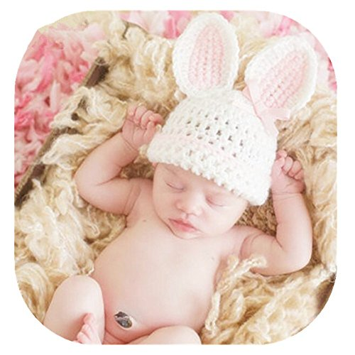 Newborn Baby Photography Prop Boy Girl Photo Shoot Outfits Crochet Knit Cute Christmas Bunny Hat Photo Props Easter Costume (Rabbit Pink hat) -