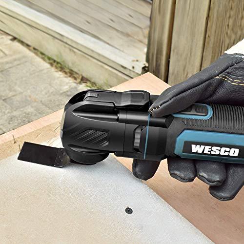 Oszillationswerkzeug, WESCO 300W Multifunktionswerkzeug mit 15 Zubehör und Tasche, 11000-20000/min, 3.2° Oszillationswinkel, 6 Geschwindigkeiten zum Entfernen, Schaben, Schneiden, Polieren