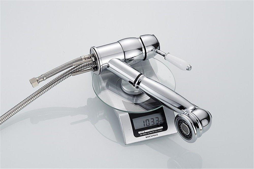 Hlluya Wasserhahn Wasserhahn Wasserhahn für Waschbecken Küche Küche Wasserhahn und Kaltes Wasser Gerichte im gesamten Becken aus Bronze Mixer Silber ziehen zu Waschen der Spüle Wasserhahn zu Drehen 82123d
