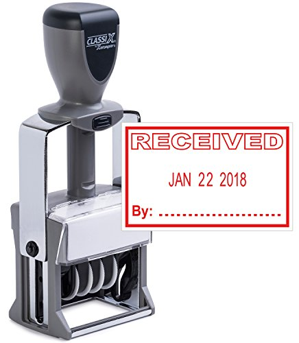 Heavy Duty Date Stamp with RECEIVED Self Inking Stamp - RED INK)