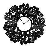 VinylShopUS - Flowers Vinyl Wall Clock Unique Gift Room| Unique Gift Anniversary | Home Decoration