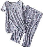 Amoy madrola Women Cotton Sleepwear/Short Sets/Pajamas Set SY215-Gray Owl-L