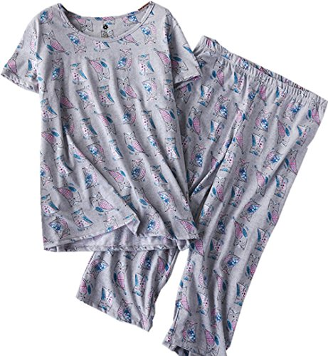 Amoy madrola Women's Pajama Sets Capri Pants with Short Tops Cotton Sleepwear Ladies Sleep Sets SY215-Gray Owl-L