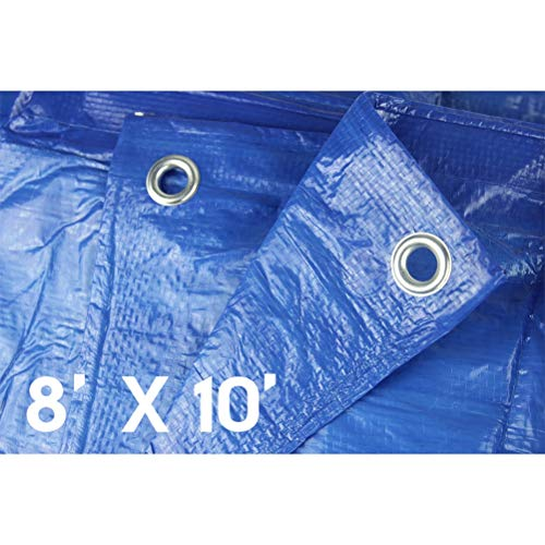 Lightweight Outdoor Tarp Hanjet 8' x 10' 5-mil Multi-purpose Waterproof Reinforced Rip-Stop with Grommets Blue
