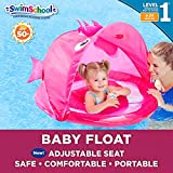 SwimSchool Pink Fun Fish Fabric Baby Pool Float, Splash and Play, Baby Boat with Safety Seat, Extra-Wide Inflatable Pool Float, Retractable Canopy, UPF 50, 6 to 24 Months, Pink