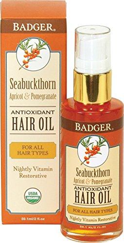 Badger Seabuckthorn Antioxidant Hair Oil - 2 oz (Sea Buckthorn Seed Oil For Hair Growth)