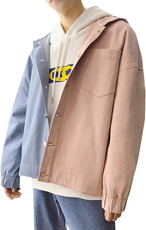 [DMbinshun]デニムジャケット メンズ フード付き パーカー ジャケット ゆったり ジージャン 長袖 バイカラー 切り替え ファッション ストリート系 アウター 大きいサイズ 秋