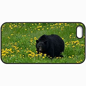 Fashion Unique Design Protective Cellphone Back Cover Case For iPhone 5 5S Case Bear Grass Flowers Field Black Black