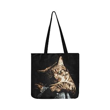 Adorable bolso de lona para gato o gato con diseño de gato de lino, bolso