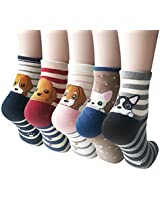 Womens Cute Animal Socks, Fun and Cool 100% Cotton Art Socks for Women