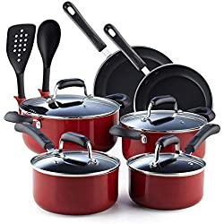 Cook N Home 02601 Stay Cool Handle, Red Marble Pattern 12-Piece Nonstick Cookware Set