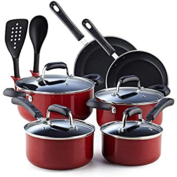 Cook N Home 02601 Stay Cool Handle Pattern 12-Piece Nonstick Cookware Set, Marble Red