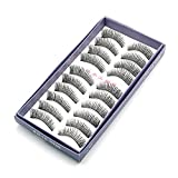 So Beauty 10 Pairs Women Natural Black Long False Eyelash Makeup Fake Eye Lash - Black #3007