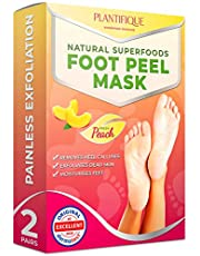 DERMATOLOGICALLY TESTED - Peach Foot Peel Mask - 2 Pairs - 10X > EFFECTIVE For Cracked Heels Repair, Remove Dead Skin, Callus & Dry Toe Skin - Baby Soft Feet - Exfoliating Peeling Natural Treatment