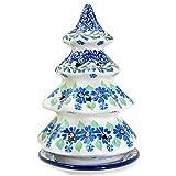 """Polish Pottery Handmade 8"""" Christmas Tree Luminary Star Cutouts 602-Daisy Dance"""