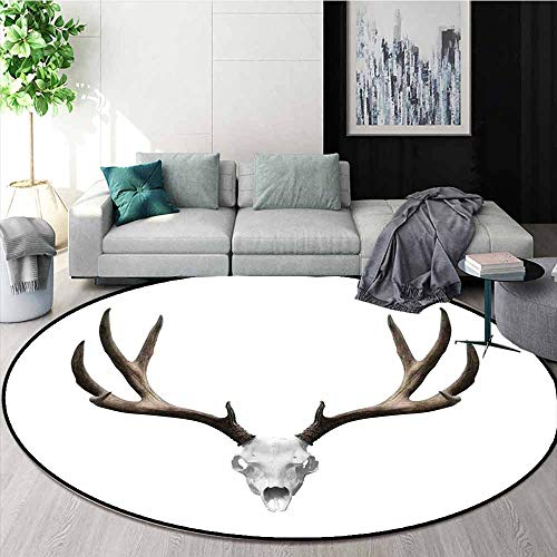 Antlers Decor Super Soft Round Home Carpet A Deer Skull Skeleton Head Bone Halloween Weathered Hunter Collection for Sofa Living Room D78.7 Inch -
