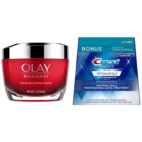 Olay Regenerist Micro-Sculpting Cream Face Moisturizer 1.7 oz with Crest 3D White Professional Effects Whitestrips Whitening Strips Kit -