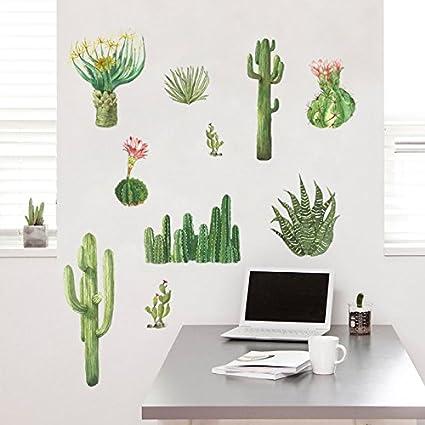 kuamai Estilo Nórdico Cactus Suculentas Adhesivo De Pared ...